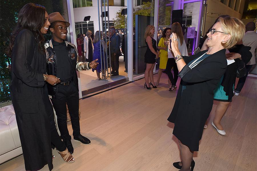 SAG-AFTRA president Gabrielle Carteris photograhs Dawnn Lewis and Dante Brown at the Television Academy's Dynamic and Diverse event, August 25, 2016, at the Saban Media Center, North Hollywood, California.