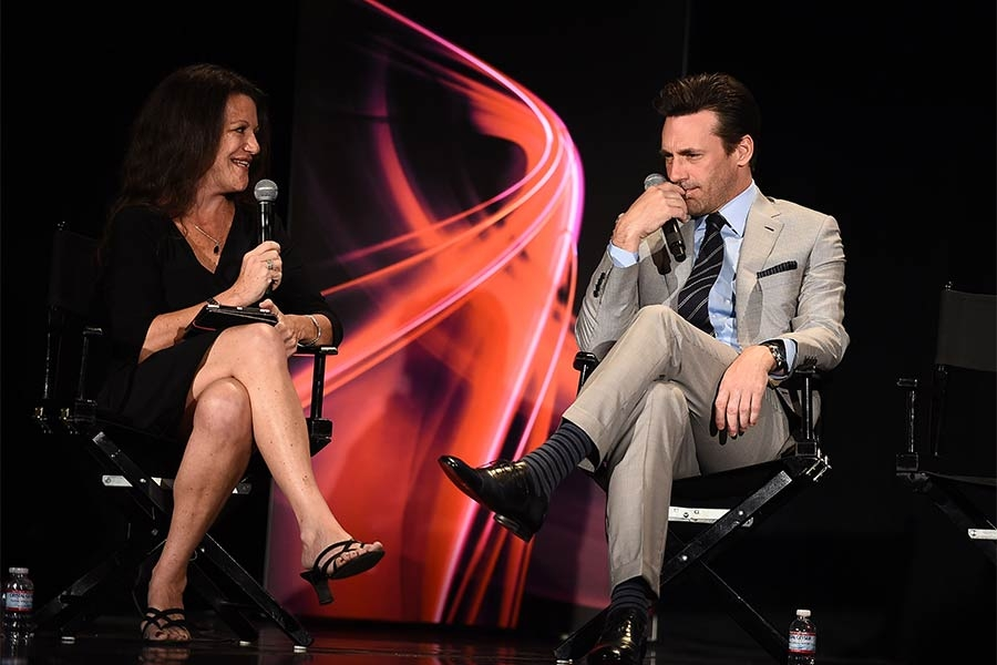 "Panel moderator Debra Birnbaum and Jon Hamm onstage at ""A Farewell to Mad Men,"" May 17, 2015 at the Montalbán Theater in Hollywood, California."