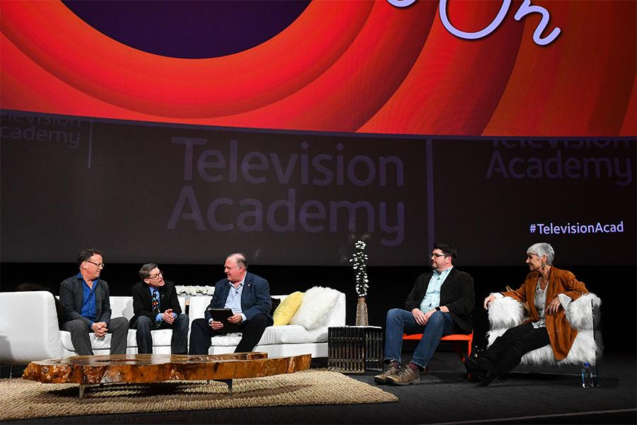 "Dee Bradley Baxter, Bob Bergen, Mark Evanier, Matt Craig and Andrea Romano onstage at ""But the Characters Live On!"" in the Wolf Theatre at the Saban Media Center in North Hollywood, California, March 2, 2017."