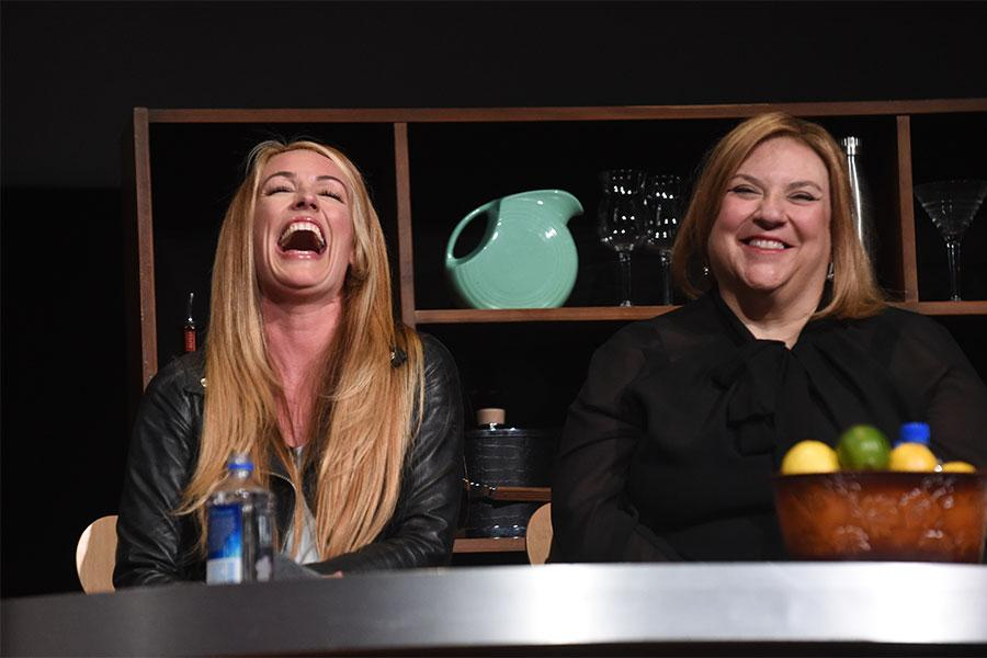 Cat Deeley and Gail Berman share a laugh at Mike Darnell: Reality TV's Great Provocateur at the Saban Media Center in North Hollywood, California, March 29, 2017.