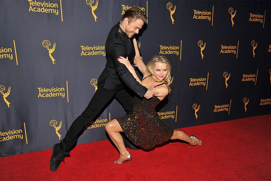 """Derek Hough and Ekaterina Fedosova at """"Whose Dance Is It Anyway?"""" February 16, 2017, at the Saban Media Center in North Nollywood, California."""