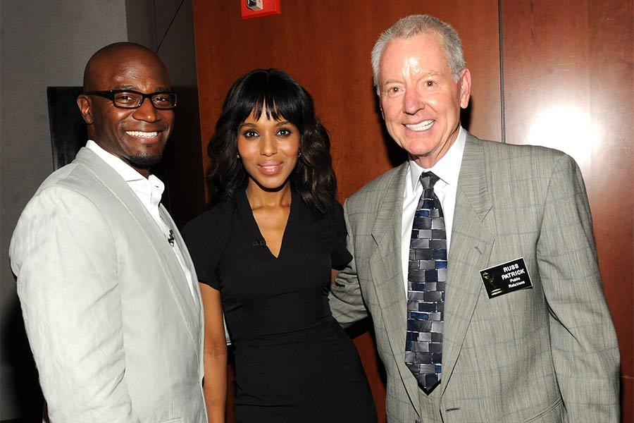 Taye Diggs, Kerry Washington, and Television Academy governor Russ Patrick at An Evening with Shonda Rhimes and Friends.