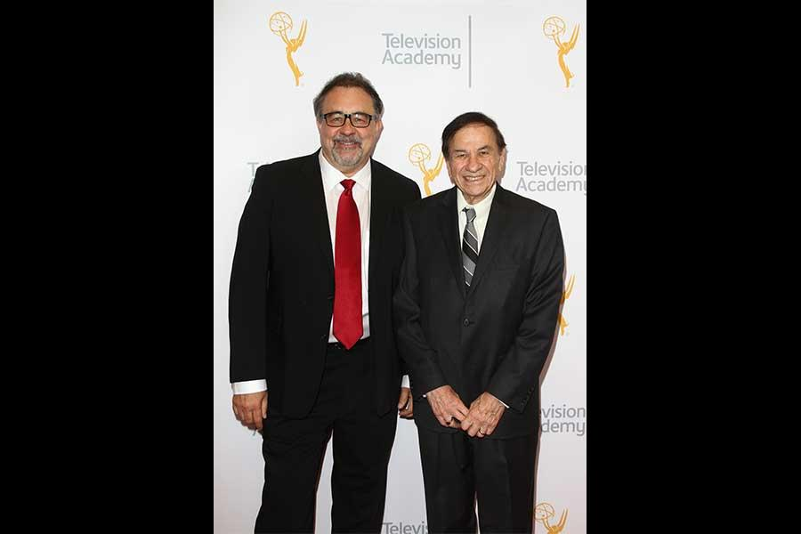 Don Hahn and Richard Sherman arrive at the 68th Los Angeles Area Emmys, July 23, 2016, at the Saban Media Center, North Hollywood, California.