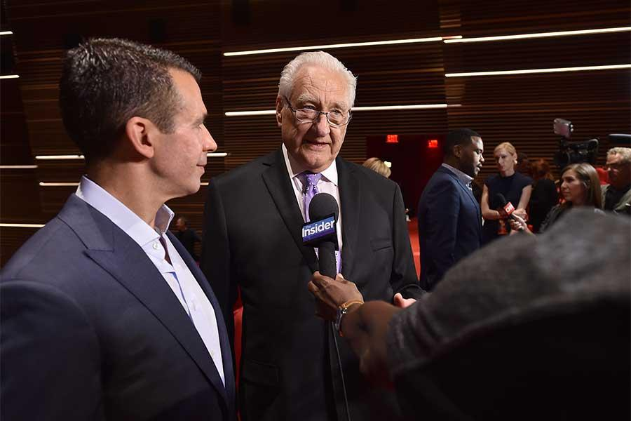 68th Emmy Awards show producers Don Mischer and Charlie Haykel are interviewed in the Wolf Theatre at the Saban Media Center, North Hollywood, California on July 14, 2016.