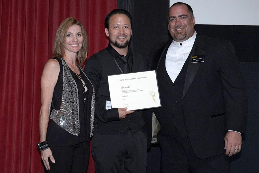 Dorenda Moore, Hiro Koda and Thom Williams at the Stunts Nominee Reception in North Hollywood, California.