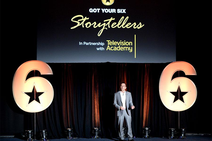Eric Hayes speaks at the Got Your 6 Storytellers event, November 10, 2015, in Los Angeles, California.