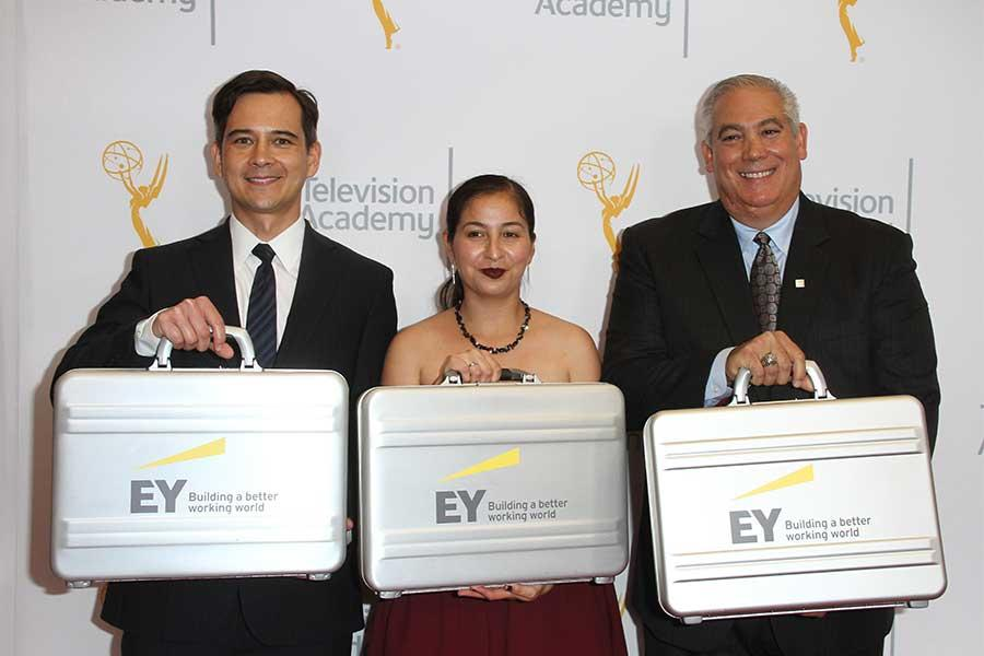 The Ernst and Young team with the all-important results at the 68th Los Angeles Area Emmys, July 23, 2016, at the Saban Media Center, North Hollywood, California.