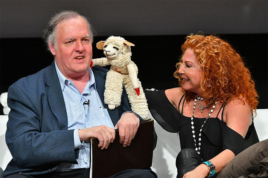 """Mallory Lewis and Lambchop greet Mark Evanier at """"But the Characters Live On!"""" in the Wolf Theatre at the Saban Media Center in North Hollywood, California, March 2, 2017."""
