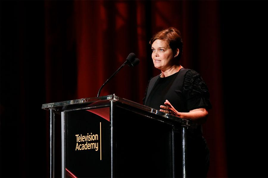 Amy Gravitt, executive vice president of programming at HBO speaks at Unlock Our Potential at the Television Academy's Saban Media Center, August 9, 2016.