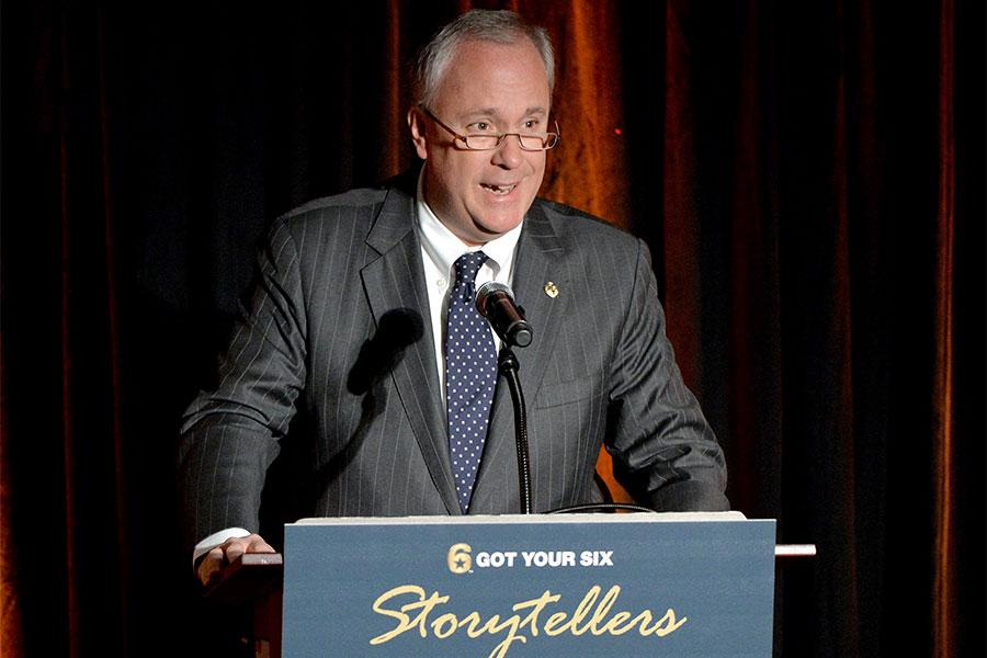Frederick Huntsberry speaks at the Got Your 6 Storytellers event, November 10, 2015, in Los Angeles, California.