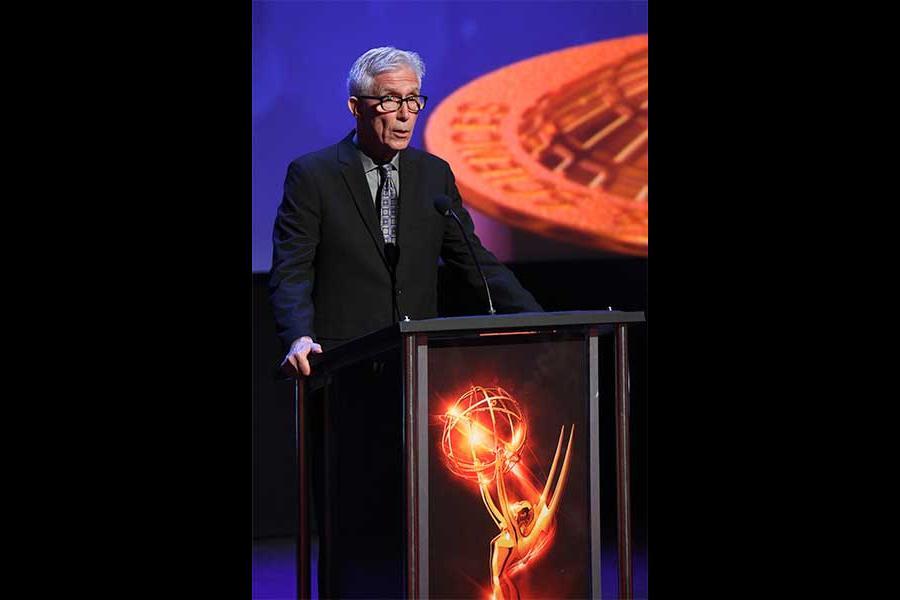 Fritz Coleman presents an award at the 68th Los Angeles Area Emmys, July 23, 2016, at the Saban Media Center, North Hollywood, California.