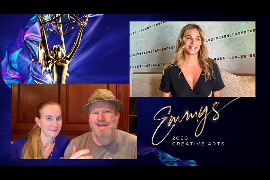 Jeannie Gaffigan and Jim Gaffigan presents the award for Outstanding Casting For A Reality Series to Goloka Bolte for RuPaul's Drag Race at Night One of the Creative Arts Emmys.