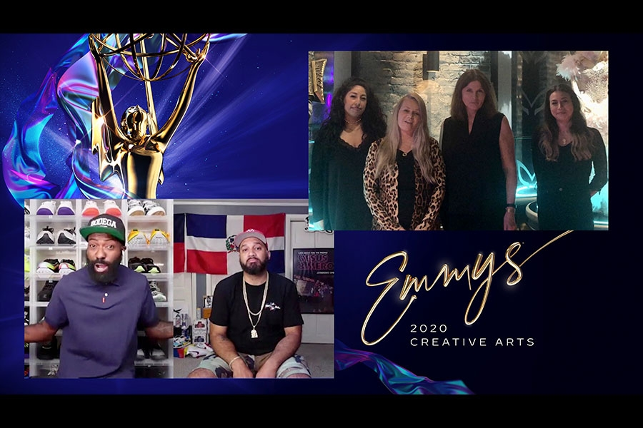 Desus and Mero present the award for Outstanding Costumes For A Variety, Nonfiction Or Reality Program to Candice Rainwater, Marina Toybina, Grainne O'Sullivan and Gabrielle Letamendi for The Masked Singer on Night Two at the Creative Arts Emmys.