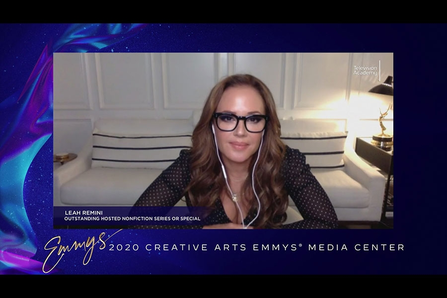 Leah Remini is interviewed about her win in the 2020 Creative Arts Emmy Awards Media Center on Saturday, September 19, 2020.