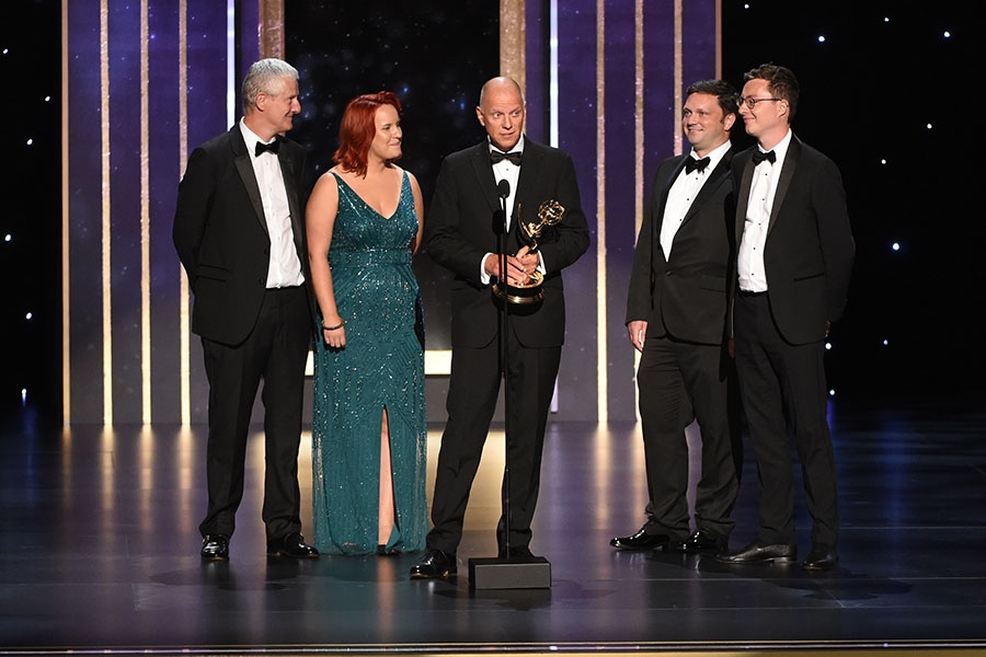 The sound editing team for Chernobyl accept their award at the 2019 Creative Arts Emmys.