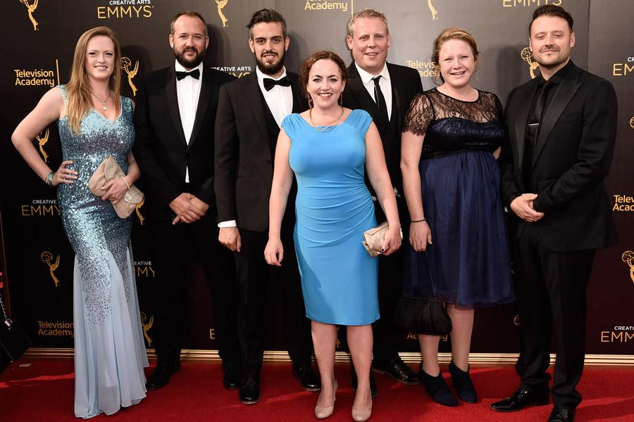 The Sherlock visual effects team on the red carpet at the 2016 Creative Arts Emmys.
