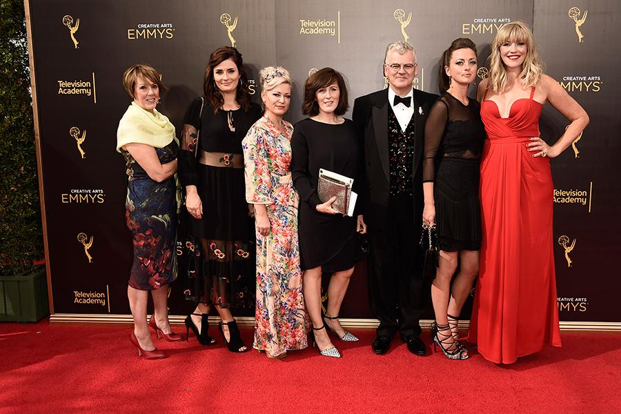 Costume hair and makeup team of Downton Abbey on the red carpet the 2016 Creative Arts Emmys.