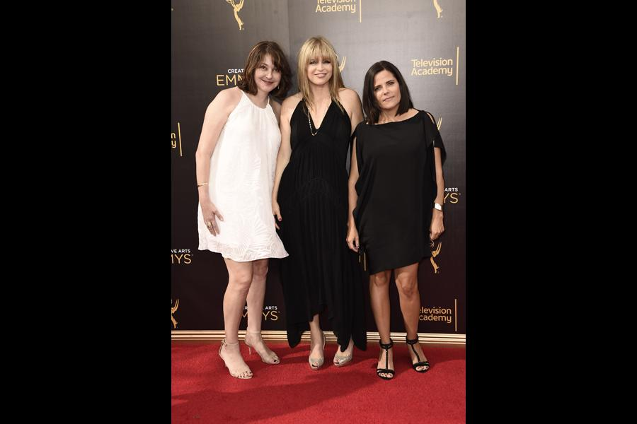 Kim Miscia, Beth Bowling and Susie Farris on the red carpet at the 2016 Creative Arts Emmys.