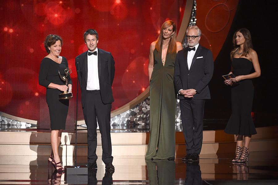 Nina Gold, left, and Robert Sterne accepts their award at the 2016 Creative Arts Emmys.
