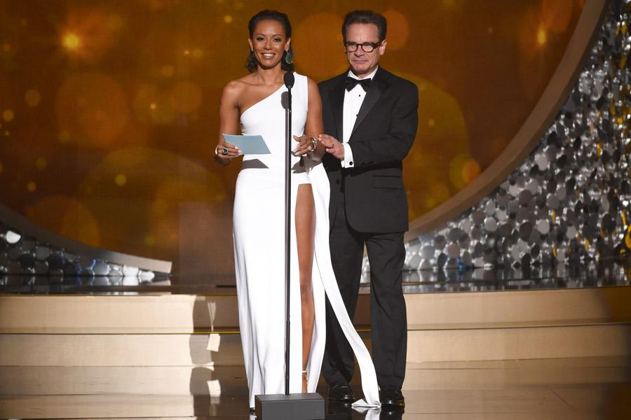 Mel B. and Peter Scolari present at the 2016 Creative Arts Emmys.