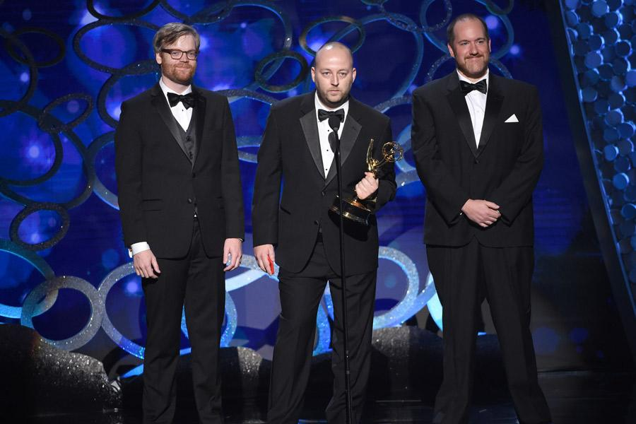 The Archer Scavenger Hunt team accepts an award at the 2016 Creative Arts Emmys.