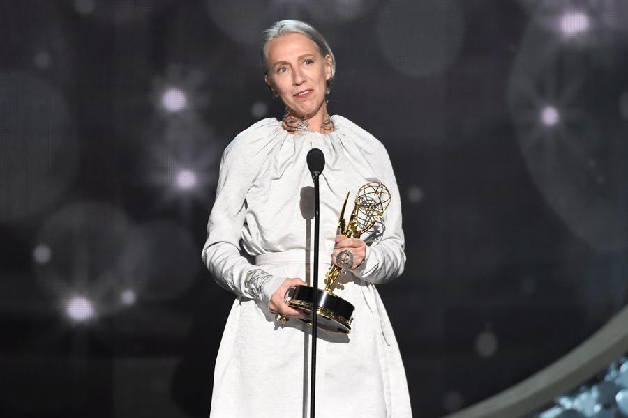 Michele Clapton accepts an award at the 2016 Creative Arts Emmys.