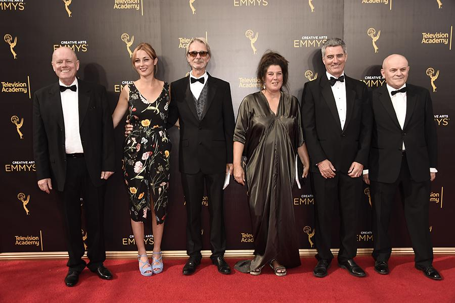 The team of Downton Abbey on the red carpet at the 2016 Creative Arts Emmys.