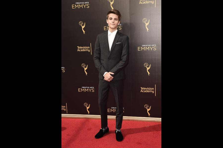 Corey Fogelmanis on the red carpet at the 2016 Creative Arts Emmys.