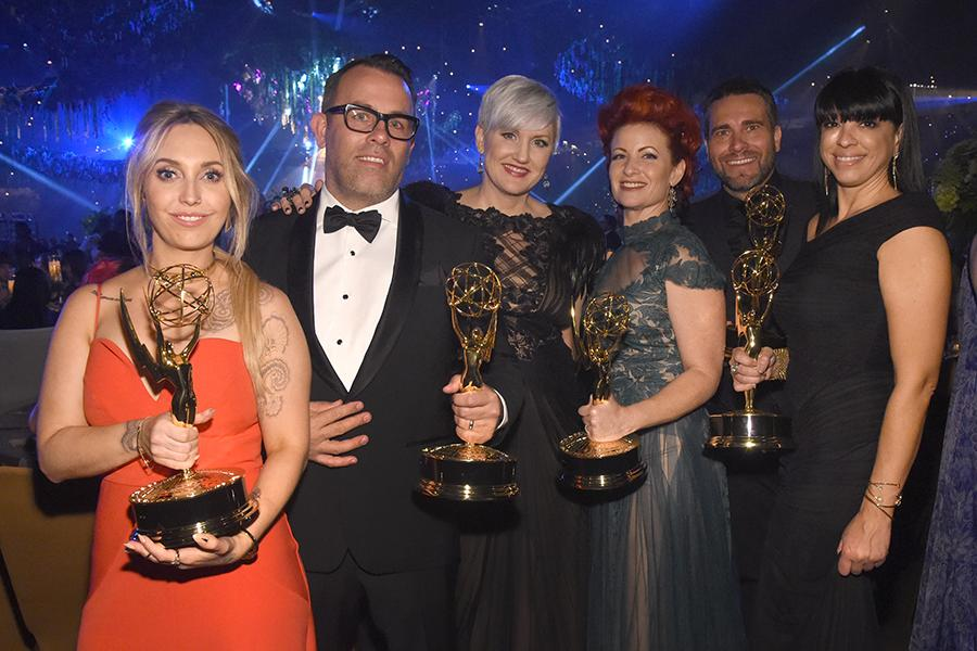 The makeup team for American Horror Story: Hotel at the 2016 Creative Arts Ball.