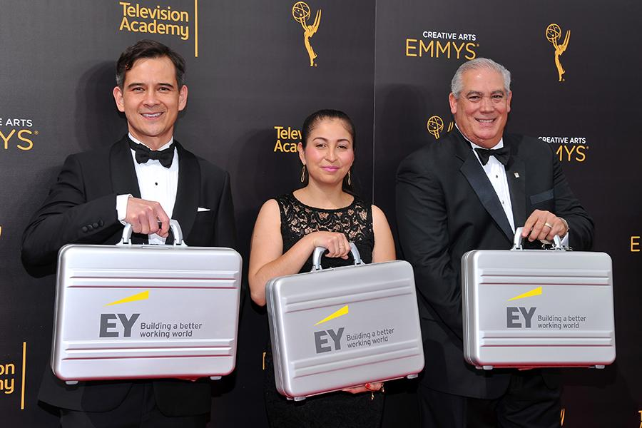 Ernst & Young accountants on the red carpet at the 2016 Creative Arts Emmys.