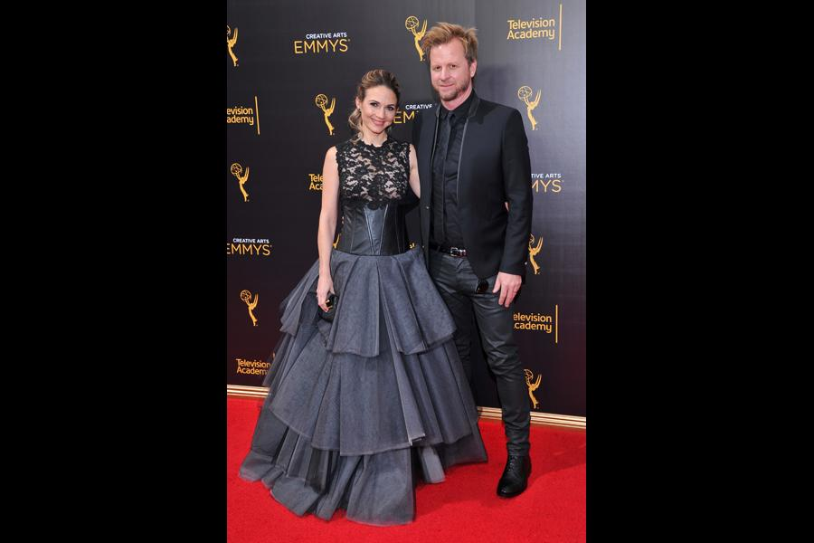 Justine Ungaro and Gary Kordan on the red carpet at the 2016 Creative Arts Emmys.