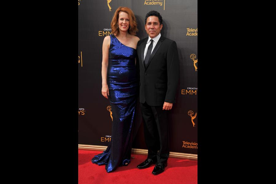 Ursula Whittaker and Oscar Nunez on the red carpet at the 2016 Creative Arts Emmys.