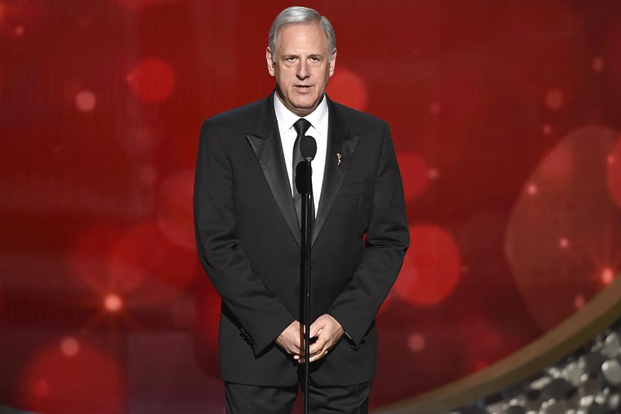 Kevin Hamburger on stage at the 2016 Creative Arts Emmys.