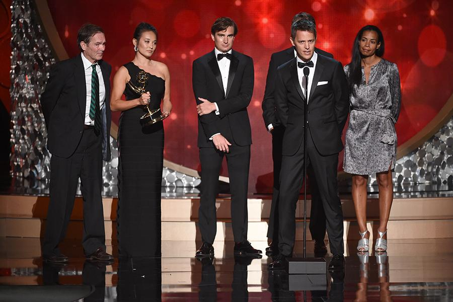 The producers for Jim: The James Foley Story accept their award at the 2016 Creative Arts Emmys.