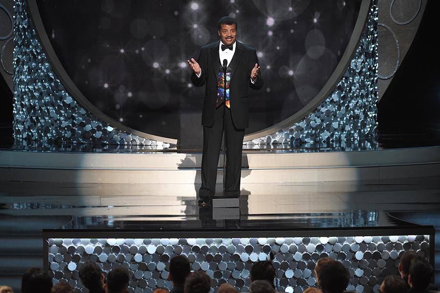 Neil deGrasse Tyson on stage at the 2016 Creative Arts Emmys.