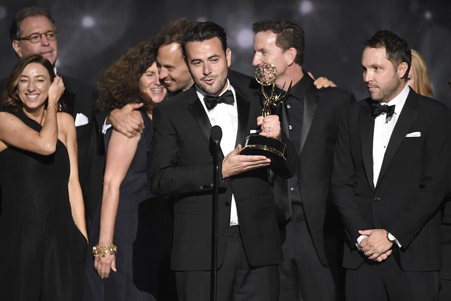The producers from The Late Late Show Carpool Karaoke Prime Time Special accepts their award at the 2016 Creative Arts Emmys.