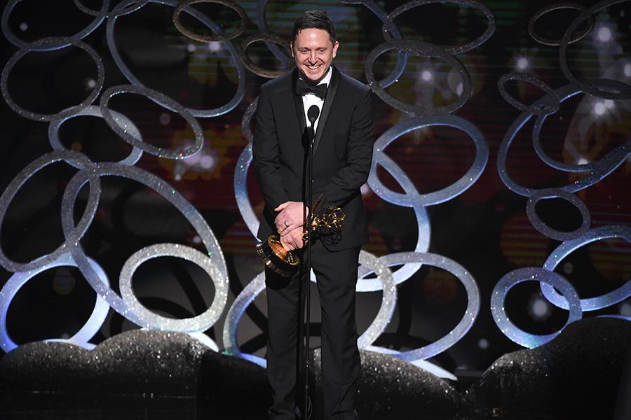 Jason Carpenter accepts his award at the 2016 Creative Arts Emmys.