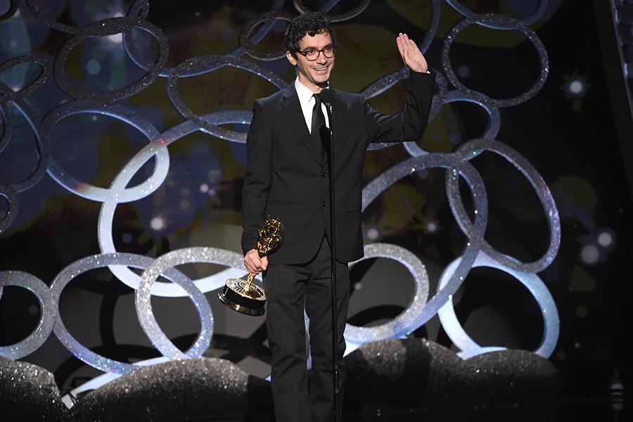 Tom Herpich accepts his award at the 2016 Creative Arts Emmys.