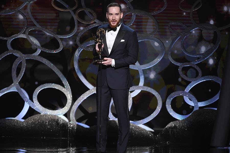 Scott DaRos accepts his award at the 2016 Creative Arts Emmys.
