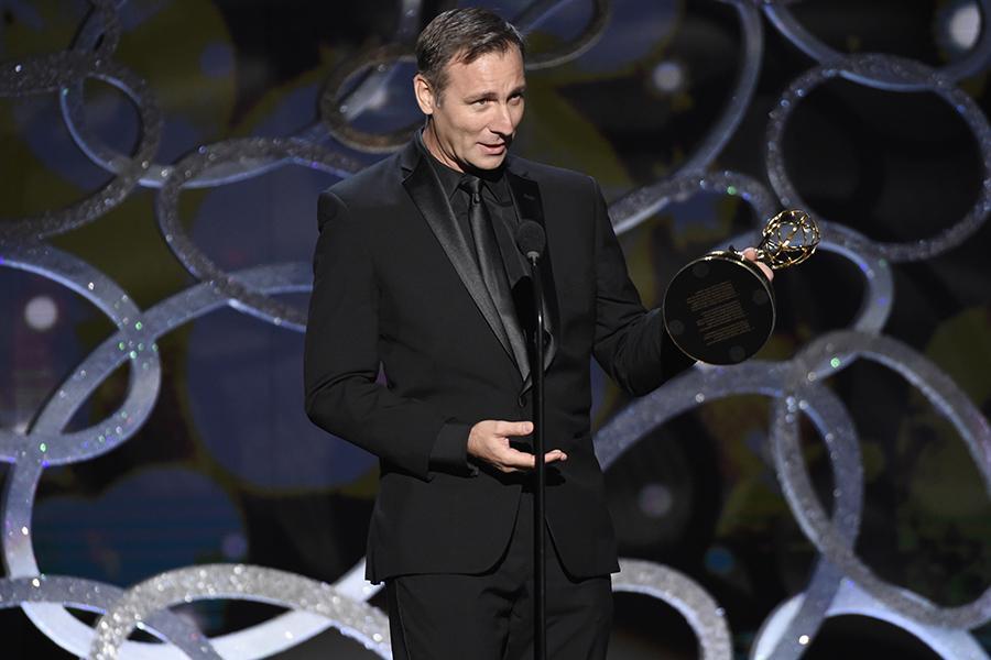 Chris Tsirgiotis accepts his award at the 2016 Creative Arts Emmys.