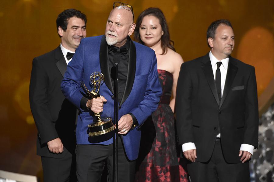 "The team from ""Project Greenlight"" accepts the award for outstanding picture editing for an unstructured reality program during night two of the Television Academy's 2016 Creative Arts Emmys."