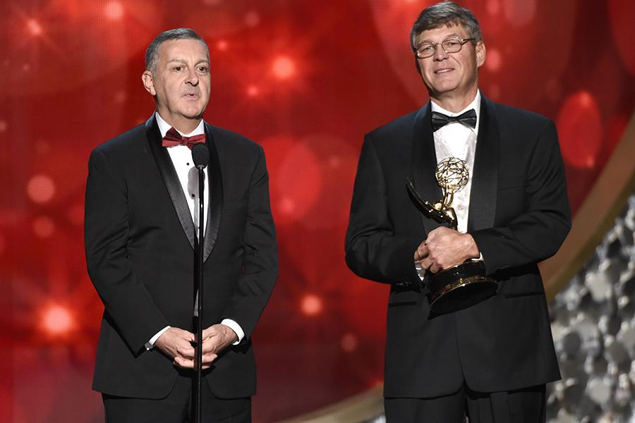 The sound team from Danny Elfman's Music From the Films of Tim Burton (Live From Lincoln Center) accepts an award at the 2016 Creative Arts Emmys.