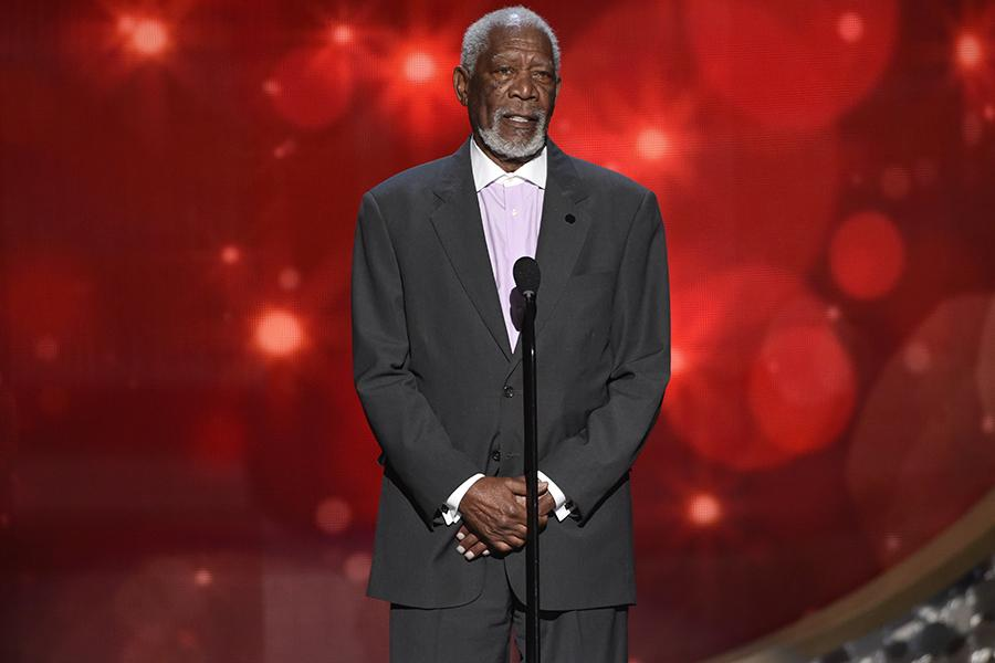 Morgan Freeman on stage at the 2016 Creative Arts Emmys.