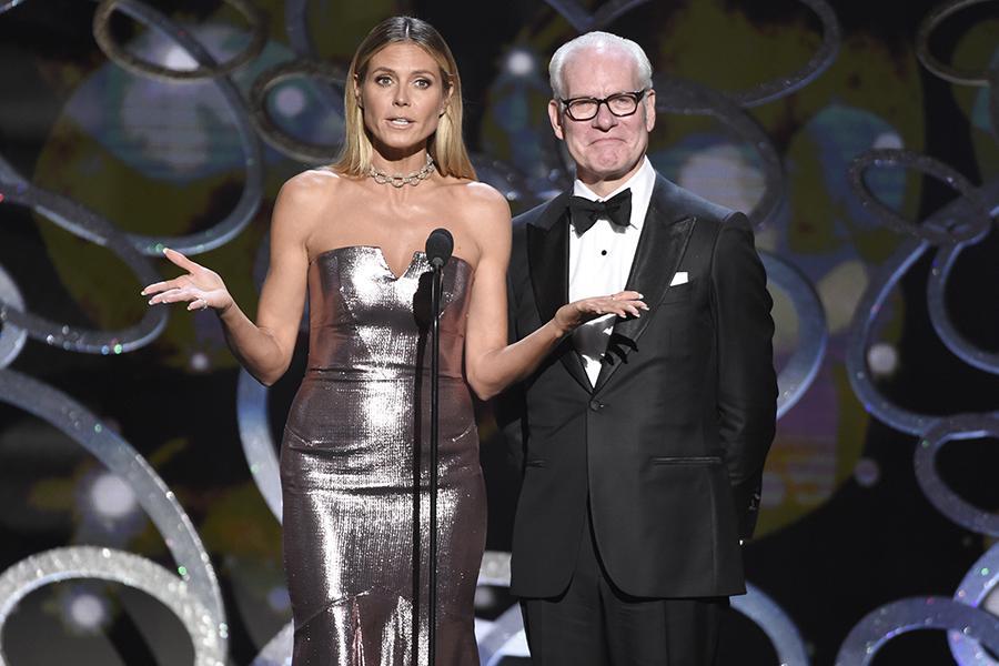 Heidi Klum and Tim Gunn on stage at the 2016 Creative Arts Emmys.