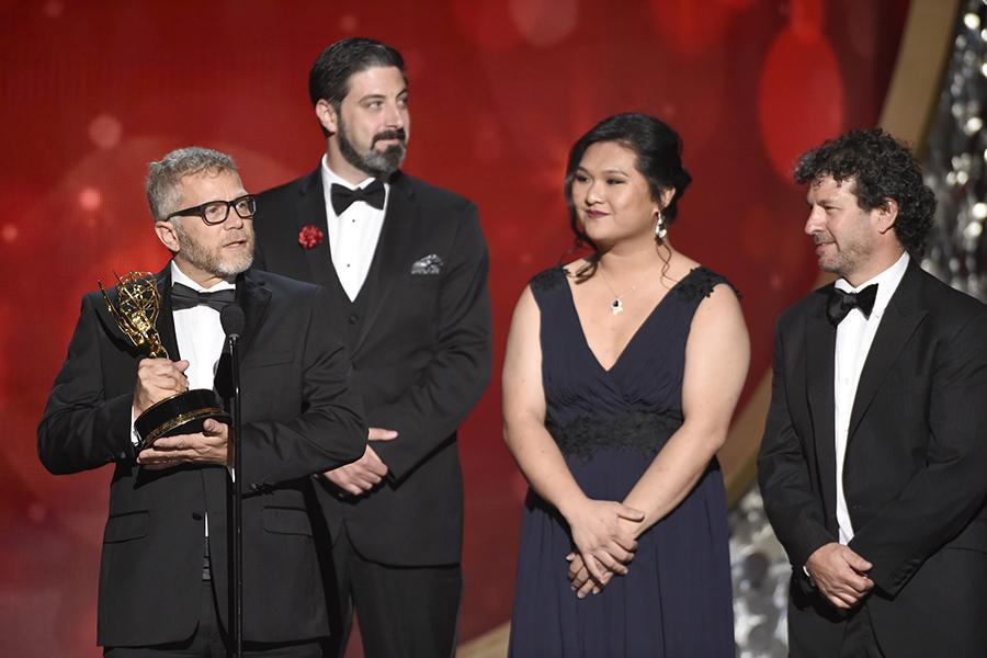 The sound editing team from Cartel Land accepts their award at the 2016 Creative Arts Emmys.