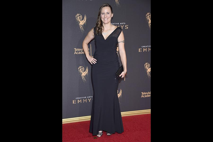 Tonya Noll on the red carpet at the 2017 Creative Arts Emmys.
