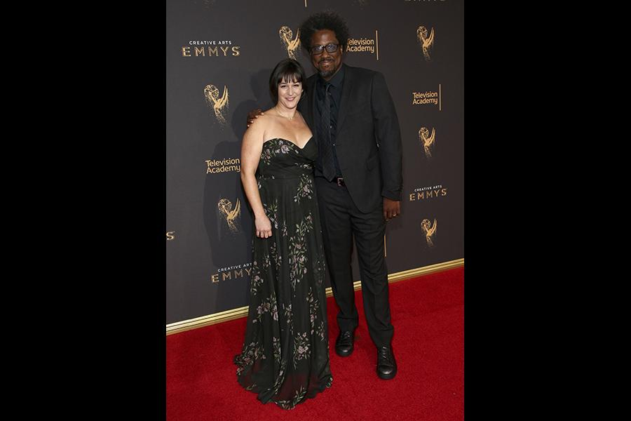 W. Kamau Bell and Melissa Bell on the red carpet at the 2017 Creative Arts Emmys.