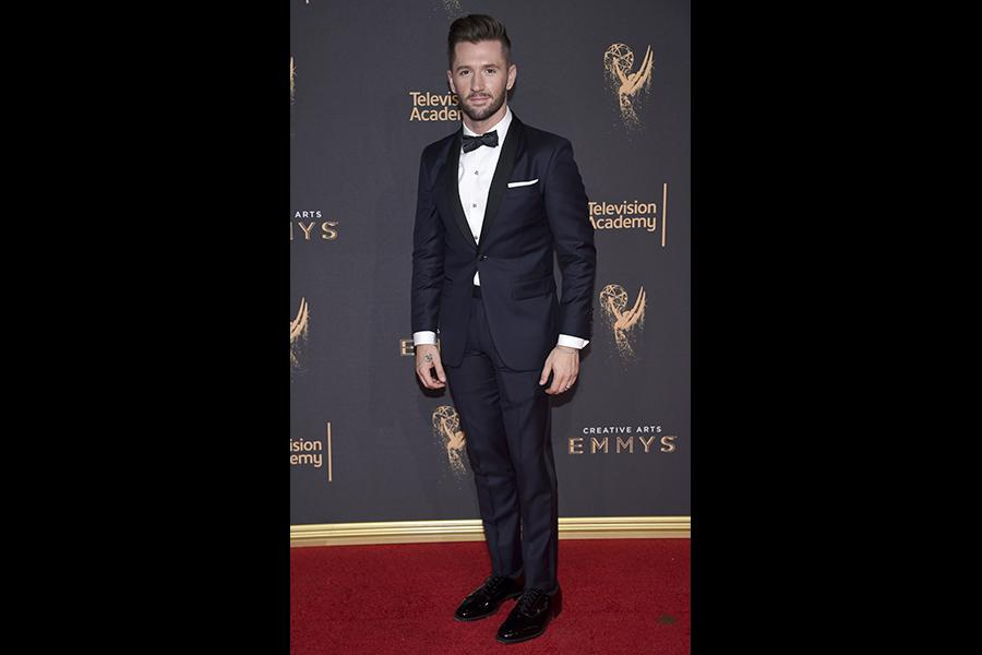 Travis Wall on the red carpet at the 2017 Creative Arts Emmys.