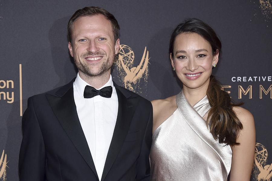 Orlando von Einsiedel and Joanna Natasegara on the red carpet at the 2017 Creative Arts Emmys.