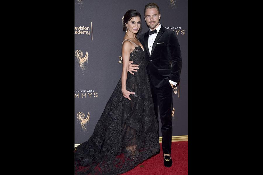 Hayley Erbert and Derek Hough on the red carpet at the 2017 Creative Arts Emmys.